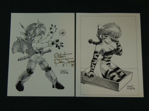 Two Early 90s Robert DeJesus Anime Manga Hentai Quality Art Prints w/ Autograph