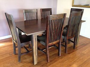 6 piece dark timber dining setting Gymea Sutherland Area Preview