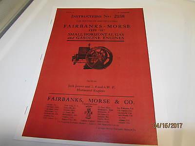 Fairbanks Morse Type H Gas Engine Instruction Manual 2158 1911 Reprint