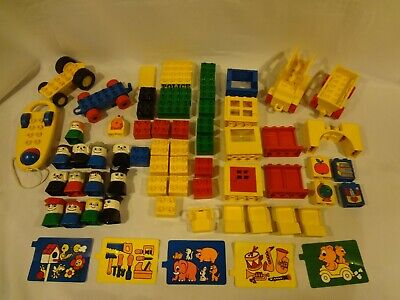 Vintage LEGO DUPLO Bricks & Minifigs - parts of Police #080-3 and School #2645 +
