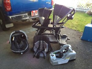 Graco double stroller and car seat set