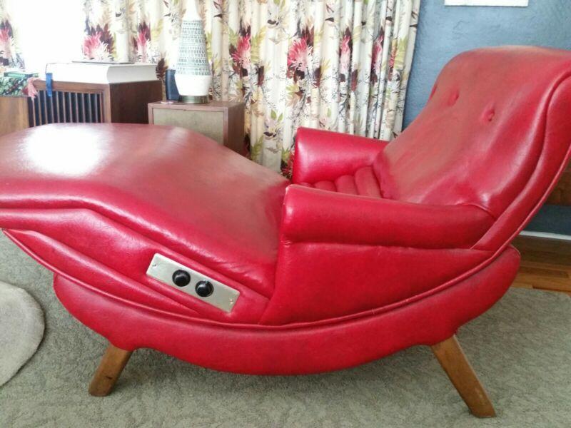 Vintage Mid Century Reclining Double Contour Chair Chaise Lounge Heat/Massage