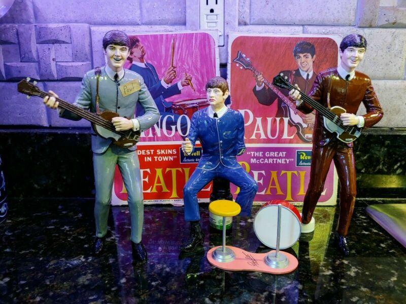 Revell 1964 Beatles Models Painted Assembled 1 Ringo, 2 Paul McCartney Models.