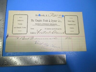 Vintage 1901 Empire Fruit & Oyster Produce Commission Merchants New York S8508