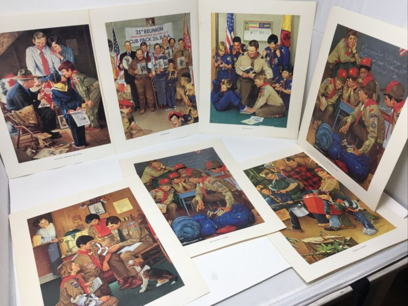 "7 PRINTS by Joseph Csatari "" The New Spirit of Scouting "" Boy Scout BSA G&W/2-11"