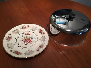 """Vintage 10"""" Plate & Cake Bell / Cloches"""