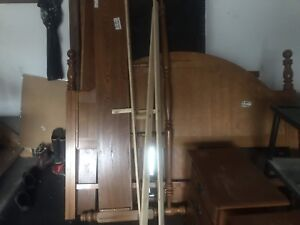 Wooden king bed frame with box springs