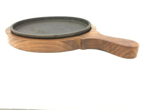 Cast Iron & Wood Base Sizzler; Perfect for sizzling food serving  - pack of 2
