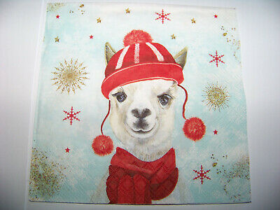 3 Servietten Weihnachten Winter Lama Lama mit Mütze
