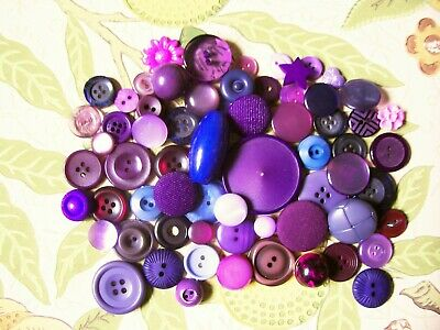 65 vintage/modern buttons in shades of purple for cardmaking,weddings