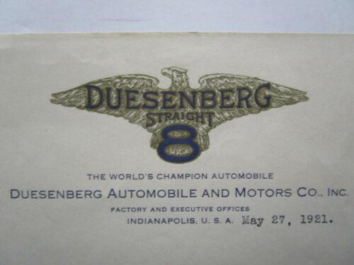1921 DUESENBERG AUTOMOBILE Document LOT. Stock Certificate, Letterhead, Letters