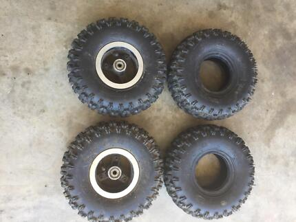 4x Tyres and rims off kids mini quad ATV motorbike 4.10x 4 The Dawn Gympie Area Preview