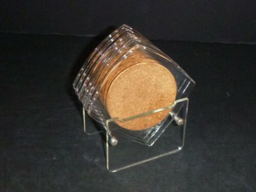 Set of 6 Vtg Mid Century MOD Clear Lucite & Cork Drink Coasters & Caddy