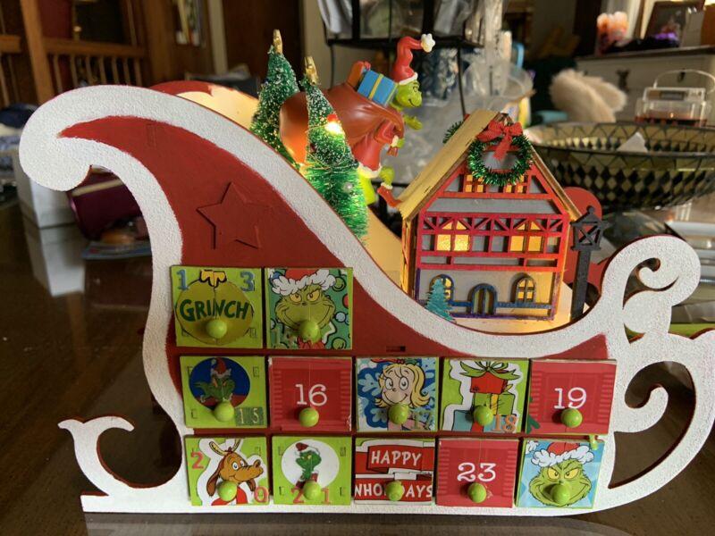 "New Custom Made Wood Christmas 3D GRINCH Advent Calendar Sleigh, Lights Up, 12"""