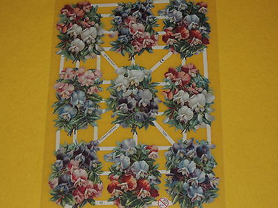 1x Poesiebilder Oblaten 280 Blumen nostalgie Glanzbilder