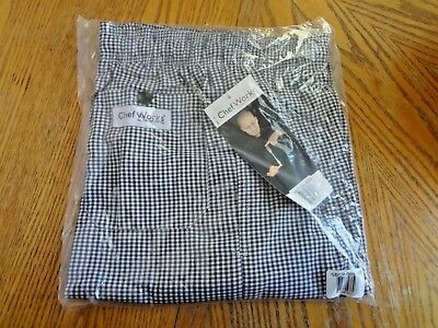 Lot Of 2 New Size Xxs Chef Works Black White Checkered Pants