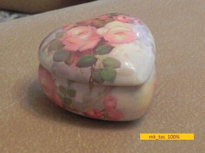 Vintage Heart Shaped Floral Roses Embellished Bisque Porcelain Jewelry Box