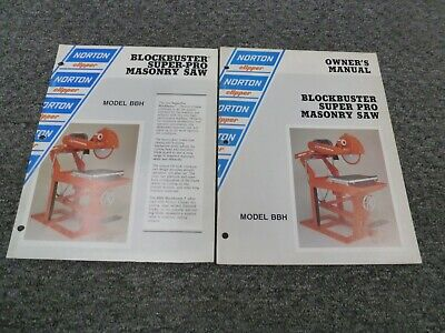 Norton Clipper Bbh Super Pro Masonry Saw Owner Operator Maintenance Manual Set