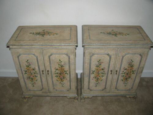 Hand painted pair cabinet floral design on  heavily antiqued crackled background