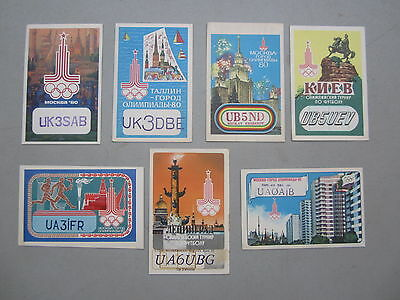Lot of 7 Old 1980 Olympics Theme MOSCOW - USSR - QSL Radio CARDS