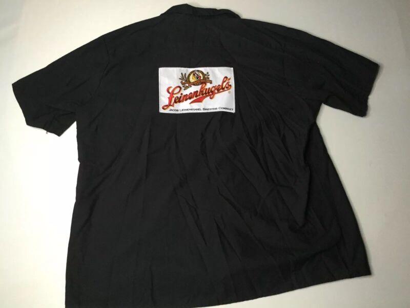 Leinenkugel Brewing Company Beer RED KAP Button Down Work Shirt - Black - sz 3XL