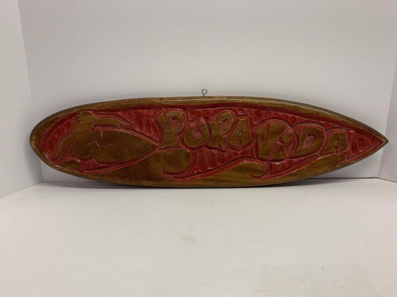 Vintage Red Surfer Surfboard Pura Vida Sign