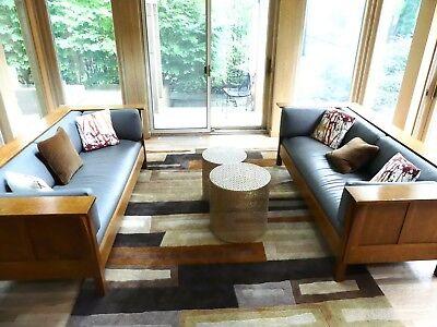 L. & J.G. Stickley Prairie Settle Sofa Pair w/ Custom Leather H29 W84½ D37½