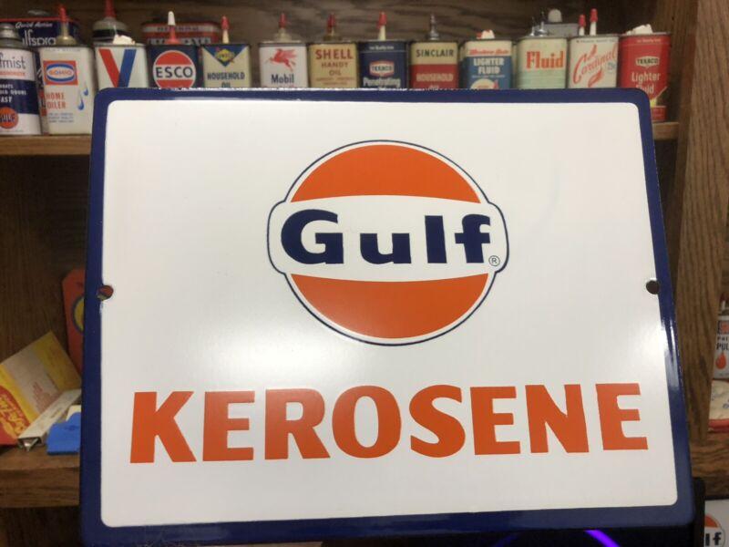 HTF!!  NOS Porcelain Gulf Kerosene Pump Plate