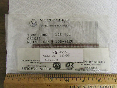 48 Pieces Allen-bradley Carbon Composition Resistors 1000 Ohm 10 14 Watt New