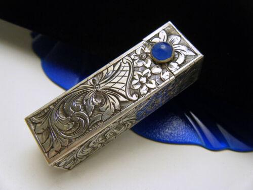 Beautiful Vintage Lipstick Compact Marked 800 Silver Etched Nouveau Design Blue