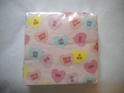 40 Wrapped Beverage Cocktail size napkins Valentine's Day Candy Hearts Heart  - Valentine's Day Napkins