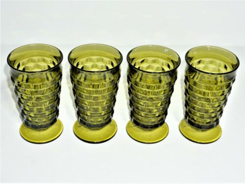 "COLONY/FOSTORIA ""AMERICAN WHITEHALL "" GREEN ICED TEA GLASSES/TUMBLERS – SET OF 4"
