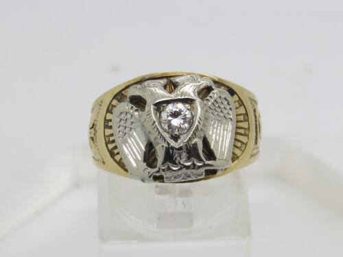 14k Yellow White Gold Round .18 CT Diamond Double Eagle 32 Degree Ring Size 8.75