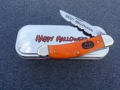 CASE XX *c 2013 HALLOWEEN PERSIMMON ORANGE PUMPKIN CARVER SOWBELLY KNIFE KNIVES