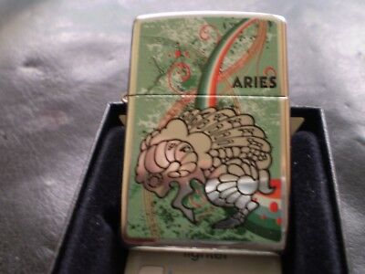 "ZIPPO / A BIRTH SIGN LIGHTER "" ARIES THE RAM "" FROM 11 / A GREAT DESIGN / MINT"