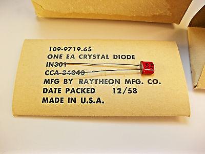 Vintage Crystal Diode 1n301 Raytheon 1958 Fsn 5961-00-235-8678 Quantity 1