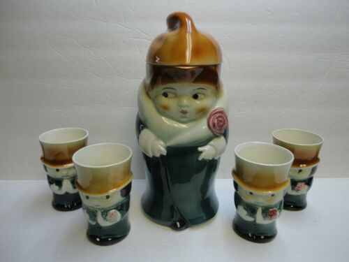 RARE Goebel c. 1940's CROWN MARK Modern Lady Jug Lid & 4 Gentleman Goblets