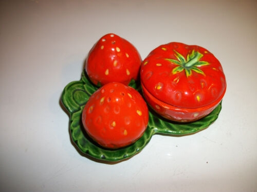 Vintage Strawberry 5 Pc Condiment Set Salt & Pepper Shakers Covered Dish, Tray