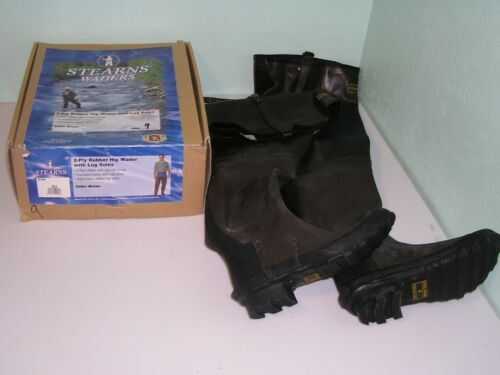 NEW Sterns 2-ply Rubber Hip Waders Boots Size 9 Lug Soles S100 Brown