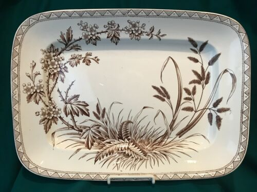 "Aesthetic Transferware Platter - ""Hawthorn"" Brown & White"