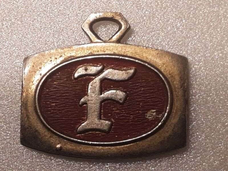Antique Vintage double sided FIRESTONE KEY FOB  METAL  PLATE