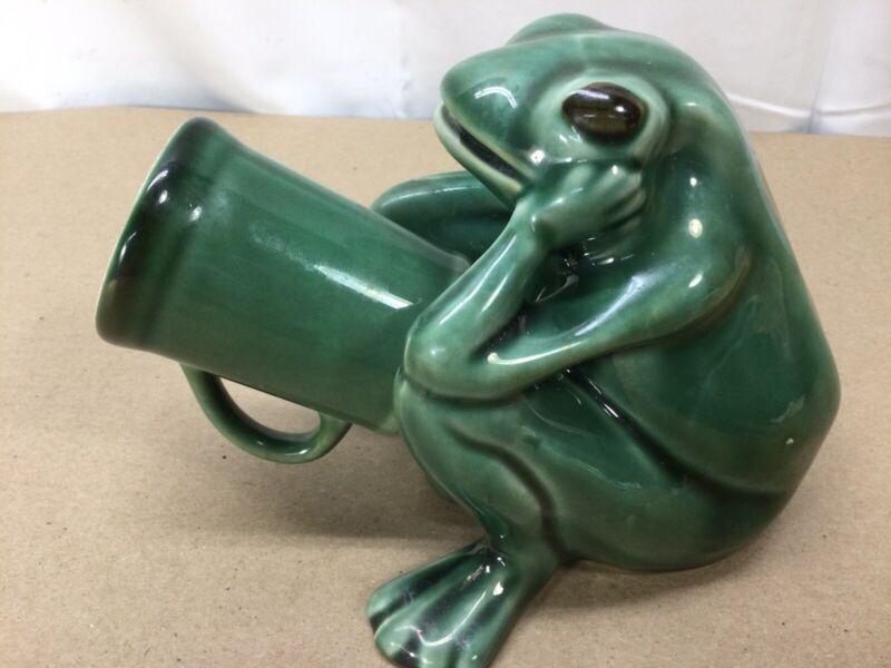 Frog Pottery penis shot glass holder 1960