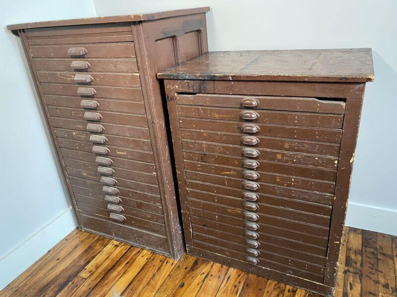 2 Antique Printers Cabinets, HUGE LETTERPRESS LOT ~ 1000