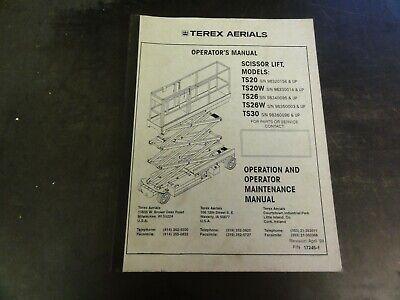 Terex Aerials Ts20 Ts20w Ts26 Ts26w Ts30 Scissor Lift Operators Manual