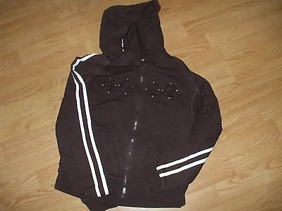 Bcbg Max Azria sport brown stretch crystals zip up hoodie sweat shirt so cute L Stretch Hoodie Sweatshirt