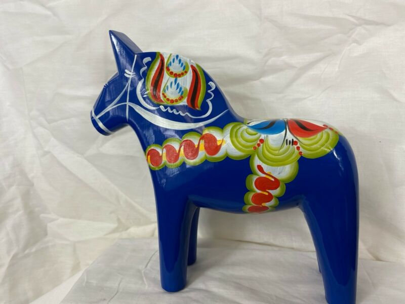 New Grannas A. Olson's Swedish hand painted Traditional wood Dala Horse  25cm