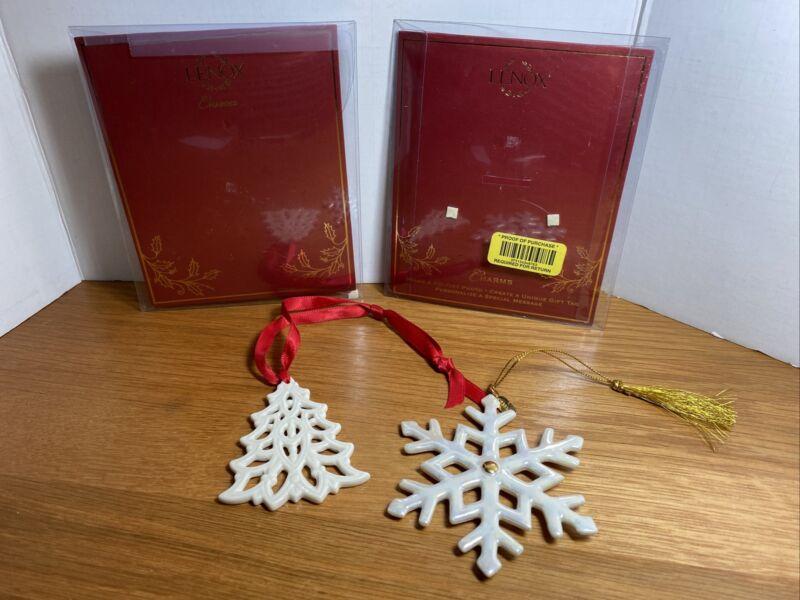 Lenox Pierced Tree Charm/ Pierced Snowflake Ornament Ivory China Lot Of 2