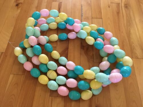 "Vintage Plastic Easter Egg Garland, 2 - 86"" Stands of Eggs on Stretch String"