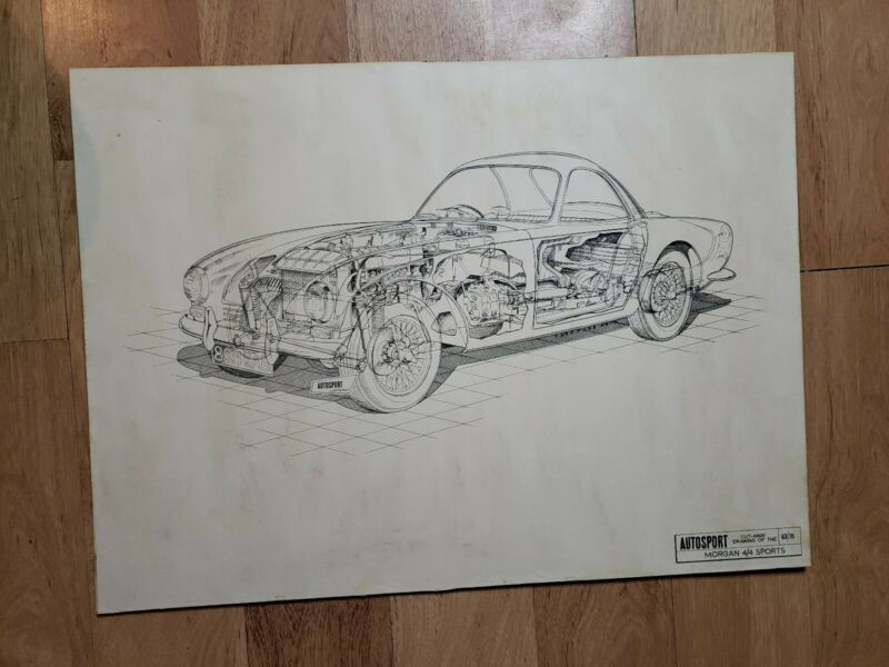 Vintage Autosport Morgan 4/4 Sports Cut Away Drawing / Poster car automobile