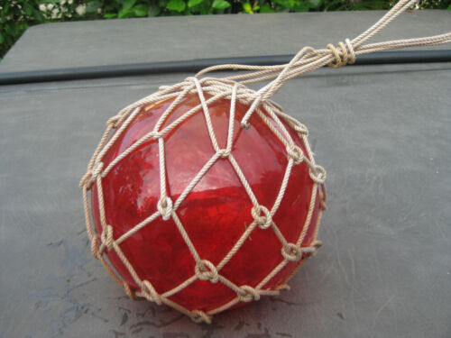 Japanese Glass Fish Net Floats  Scarlet Red/Amber Medium